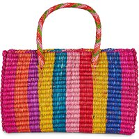 PITUSA Ladies Black High quality Pinata Straw Tote Bag, Size: 1SIZE