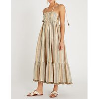 Zimmermann Beige, Pink and Brown Juniper Tasselled-Hem Striped Cotton-Blend Midi Dress