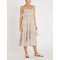 Zimmermann Pink Heathers Floral-Print Linen Midi Dress
