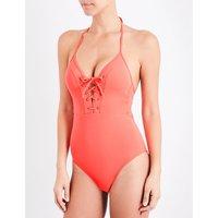 Jets By Jessika Allen Jetset lace-up swimsuit, Women's, Size: 10, Nectar