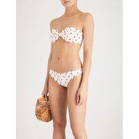 Spotted bandeau bikini top