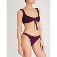 Angle tie-front bikini set