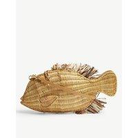 Aranaz Brown Woven Fish Raffia And Straw Clutch Bag