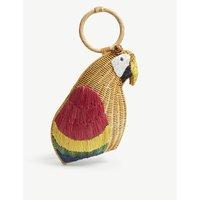 Aranaz Brown and Red Woven Avis Parrot Clutch Bag