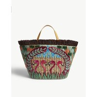Aranaz Brown and Pink Animal Print Straw Flamingo Tote Bag