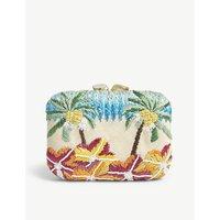 Aranaz Cream Floral Raffia Box Clutch Bag