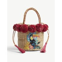 Aranaz Magenta Red and Brown Woven Toco Fiesta Straw Bucket Bag