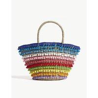 Mystique Ladies Rainbow Coloured Striped Hakone Pom-Pom Straw Beach Bag