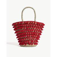 Mystique Red Woven Pom Pom Beach Bag, Size: Medium