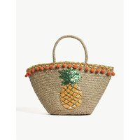 Mystique Brown Woven Sequin Pineapple Straw Beach Bag