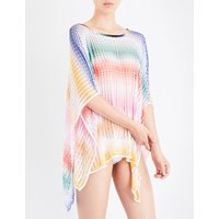 Chevron crochet-knit poncho