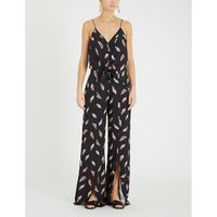 Seychelles Nora knotted-waist feather-print jersey jumpsuit