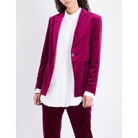 Theory Ladies Electric Pink Classic Single-Breasted Velvet Jacket, Size: 6