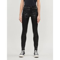 Edgemont skinny mid-rise leather jeans