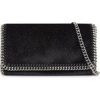 Stella Mccartney Ladies Black&Navy Embossed Feminine Falabella Velvet Cross-Body Bag