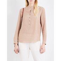 Stella Mccartney Eva dog-print silk crepe shirt, Women's, Size: 4, Camel dog prt
