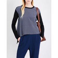 Stella Mccartney Ladies Black Printed Luxurious Tie-Print Silk Crepe De Chine And Wool-Blend Jumper, Size: 2