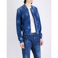 Stella Mccartney Ladies Blue Denim Classic Star-Patterned Stretch-Denim Bomber Jacket, Size: 2