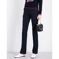 Jodi slim-fit mid-rise wool-piqué trousers