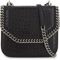 Stella Mccartney Ladies Black Crocodile Luxe Falabella Faux-Leather Cross-Body Bag