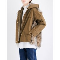 Stella Mccartney Ladies Quilted Traditional Hannah Cotton-Twill And Faux-Fur Parka Jacket, Size: 8