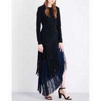 Stella Mccartney Camille fringed stretch-crepe midi dress, Women's, Size: 8, Black