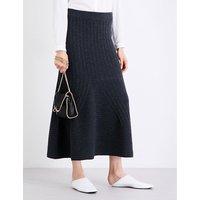 Stella Mccartney Ladies Black&Grey Knitted Flared Wool Skirt, Size: 6