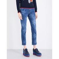 Stella Mccartney Ladies Printed Concealed zip Star-Print Boyfriend-Fit Mid-Rise Jeans, Size: 29