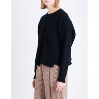 Stella Mccartney Ladies Black Ribbed Classic Dropped-Shoulder Knitted Jumper, Size: 4