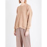 Dropped-shoulder ribbed knitted jumper