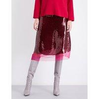 Stella Mccartney Ladies Sequin Embellished Concealed zip Margo Sequinned Silk Skirt, Size: 10