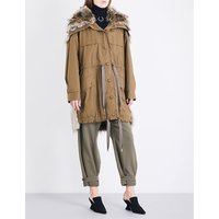 Stella Mccartney Ladies Brown Traditional Contrast Gail Cotton-Twill And Faux-Fur Parka Coat, Size: 4