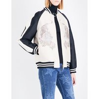 Stella Mccartney Ladies Oyster Lorinda Tiger-Embroidered Woven Bomber Jacket, Size: 2