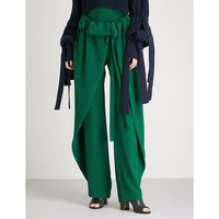 Draped-panel wide-leg silk-crepe trousers