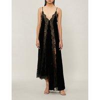 Lace-panel velvet dress
