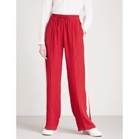 Side-stripe wide-leg silk-crepe jogging bottoms