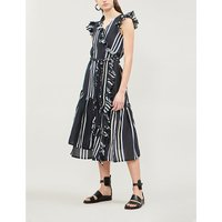Costa ruffled striped cotton midi wrap dress