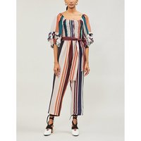 Lagunitas smocked striped silk-blend jumpsuit