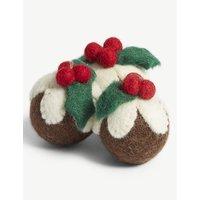 Christmas Pudding felt tree decorations set of three