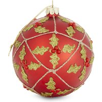 Holly-and-berry motif glitter Christmas tree decoration 10cm