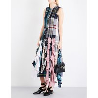 Patchwork ruffled woven midi dress