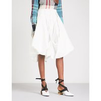 Balloon-hem high-rise cotton-twill skirt