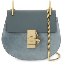 Chloe Drew suede and leather cross-body bag, Women's, Cloudy blue