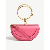Chloe Ladies Fushia Rose Pink Elegant Nile Minaudière Leather Handbag