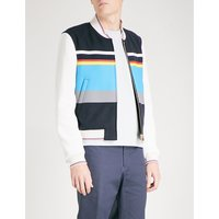 Striped wool and leather bomber jacket