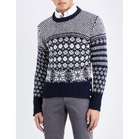 Snowflake intarsia wool and mohair-blend jumper