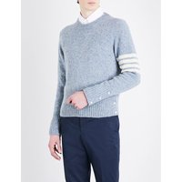 Thom Browne Striped-sleeve wool and mohair-blend jumper, Mens, Size: XXS, Pale blue