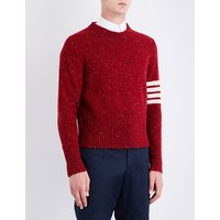 Striped-sleeve wool and mohair-blend jumper