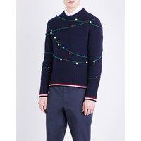 Holiday pompom wool jumper