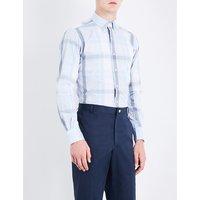 Check-pattern regular-fit cotton-poplin shirt